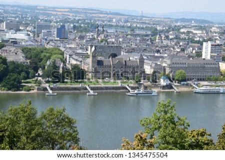 cityscape of Koblenz across rhine river #1345475504