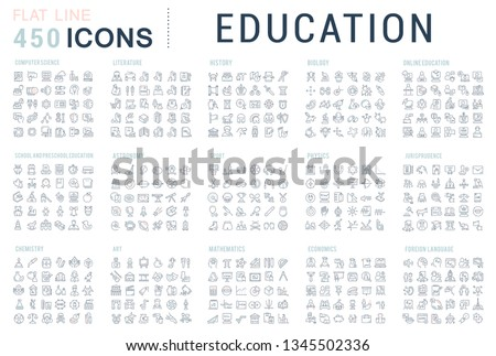 Collection of vector line icons of education. Natural and mathematical science, additional education, tutorship, freelance. Set of flat signs and symbols for web and apps. #1345502336