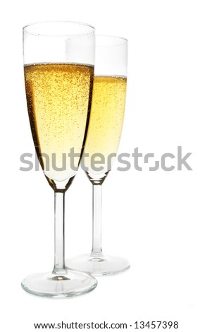 Two glasses of champagne isolated over white background #13457398