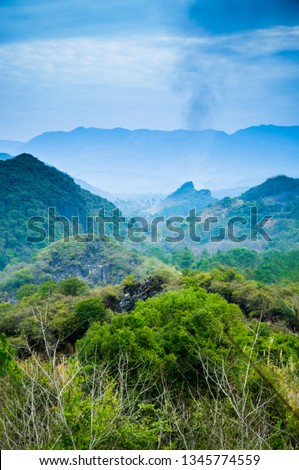 Mountain and countryside scenery in autumn #1345774559