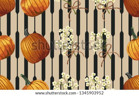 Printable seamless pattern of pumpkins and baby's breath flowers. Seamless spring pattern in super high resolution. #1345903952