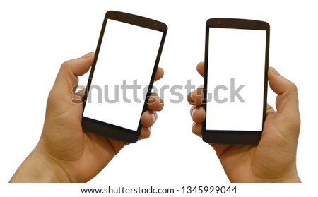 Hand holding mobile smart phone with blank screen. Isolated on white #1345929044