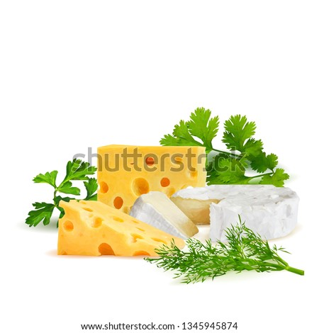 Cottage and dutch cheese with green parsley and dill low poly. Fresh brie, nutritious dutch cheese, tasty cottage cheese. Vector illustration. Cheese with green plant in triangulation technique. #1345945874