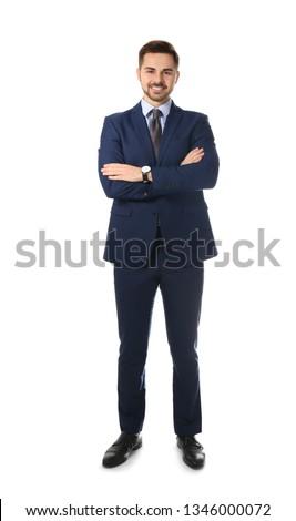 Full length portrait of businessman posing on white background Royalty-Free Stock Photo #1346000072