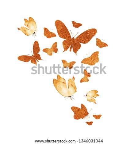 Flock of watercolor vintage butterflies on white #1346031044