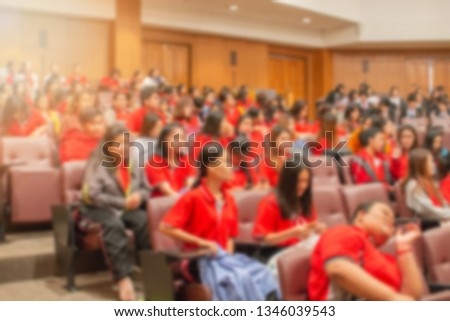 Blurred background of students or participants in the training room doing a workshop, or attending the conference - educational and business concept #1346039543