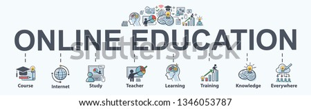 Online Education banner web icon for lesson and presentation. course, teacher, study, e learning, knowledge everywhere and everytime. Minimal vector infographic. #1346053787