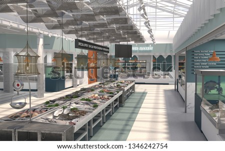 The interior of the shop fresh fish and seafood. 3D render. Design project of the fish market. #1346242754