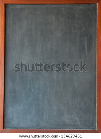 The picture of blank blackboard on wooden frame