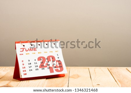 calendar with June 2019 page isolated on beige with copy space #1346321468