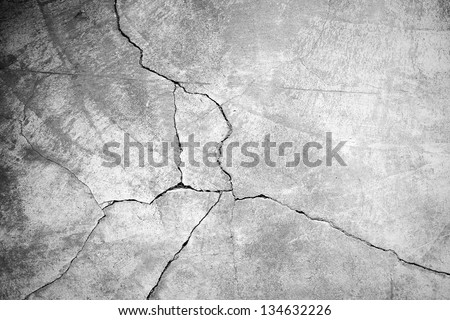 Grunge concrete cement wall with crack in industrial building, great for your design and texture background Royalty-Free Stock Photo #134632226