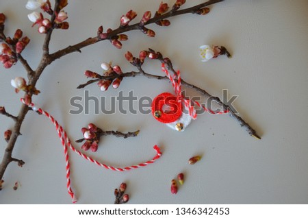 bud branch and blossom, white and red ornamental, martenitsi #1346342453
