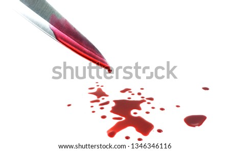 Bloody knife isolated on white background, Concept Kitchen knife in the restaurant.copy space for your text. #1346346116