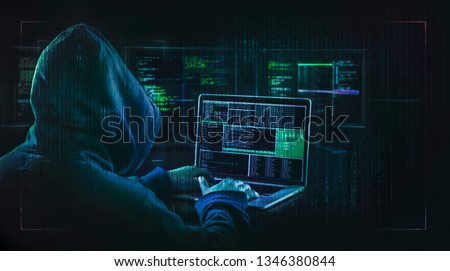 dark web hooded hacker  cyber war concept  #1346380844