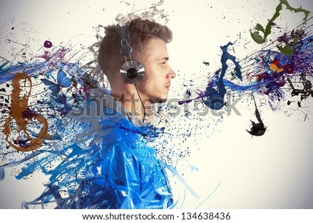 Boy listening to music with sketch effect