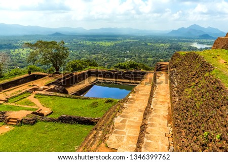 The view along the side of the fortifications at the top of the rock fortress of Sigiriya, Sri Lanka #1346399762