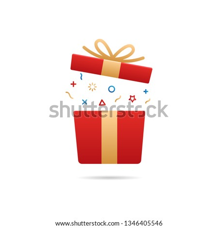 Red gift box. Vector flat icon illustration for birthday, christmas, promotions, contests, marketing, giveaways, enter to win marketing strategies - Vector #1346405546