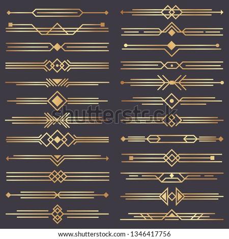 Art deco divider. Gold retro arts border, 1920s decorative ornaments and golden dividers borders, minimal elegant golden ornament frame for wedding invitation card.  design isolated icons set #1346417756