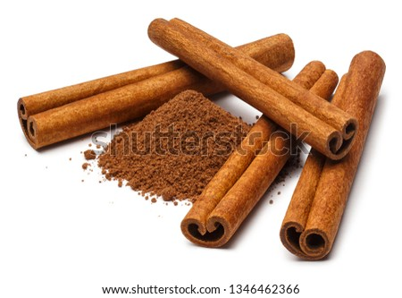 Cinnamon sticks and powder, isolated on white background #1346462366