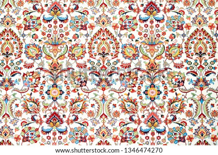Decorative abstract colorful background, geometric floral pattern with ornate lace frame. ethnic ornament.  fabric print, silk neck scarf or kerchief design.Rich ornament fabric design.Textile Royalty-Free Stock Photo #1346474270