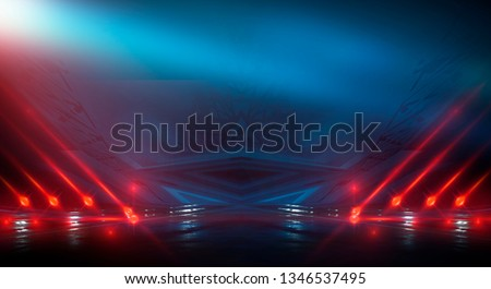 Background wall with neon lines and rays. Background dark corridor with neon light. Abstract background with lines and glow. Light element in the center, a triangle, a pyramid with neon. #1346537495