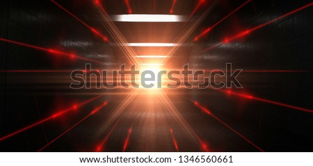 Dark tunnel, corridor. Abstract light, rays, spotlights. Night view. Reflection of light in the dark. Neon lines on a dark background. lights space units. #1346560661