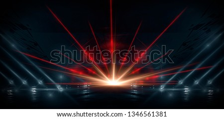 Neon lines on a dark background. Space background, lights space units. Abstract neon background, tunnels, corridors, lenses, glare, laser beams. The virtual reality #1346561381