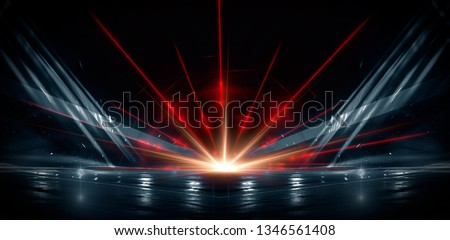 Neon lines on a dark background. Space background, lights space units. Abstract neon background, tunnels, corridors, lenses, glare, laser beams. The virtual reality #1346561408
