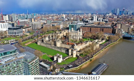 Aerial drone photo of iconic Tower of London castle in the heart of City of London, United Kingdom #1346631617
