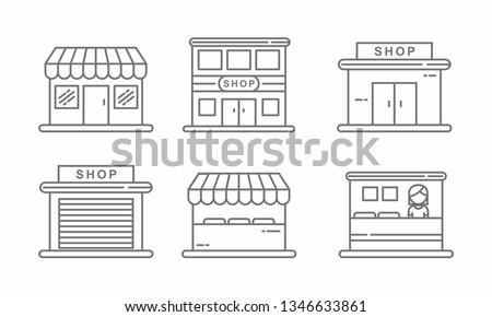 Set of store icon line design. Store vector illustration  #1346633861