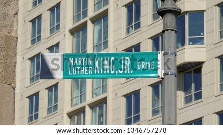 Shot of Martin Luther King, Jr. street sign in Washington, D.C. (U.S.A) photographed on February 28, 2019. #1346757278
