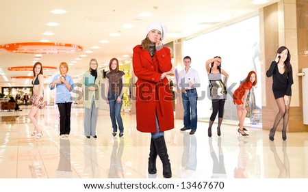 group portrait of young adults in a mall #13467670