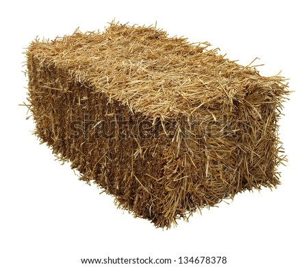 Bale of hay isolated on a white background as an agriculture farm and farming symbol of harvest time with dried grass straw as a bundled tied haystack. #134678378