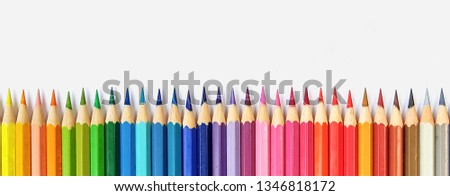 Color pencils isolated on white background close up with Clipping path.Beautiful color pencils.Color pencils for drawing  Rainbow color pencil and used as a background. #1346818172