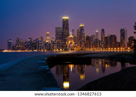 Chicago skyline at night #1346827613