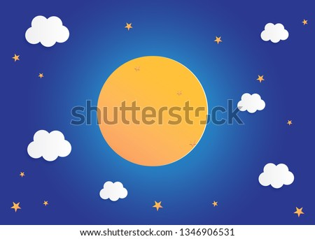 moon and stars in midnight, paper art style background flat design vector illustration  #1346906531