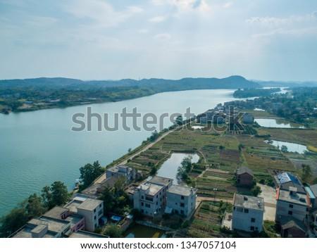 Overlooking the Green Xiangjiang River, Hunan, China  #1347057104