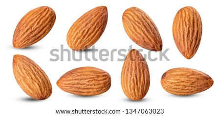 almond raw piece collection set.almond full macro shoot nuts healthy food ingredient on white isolated .Clipping path #1347063023