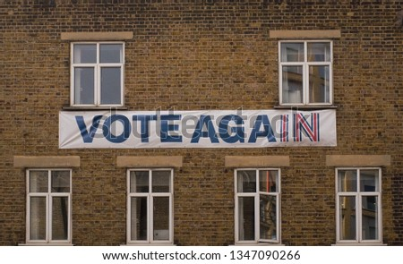 London / UK - 2nd of February 2019: Remainer Campaign banner requesting for a second referendum on building  #1347090266
