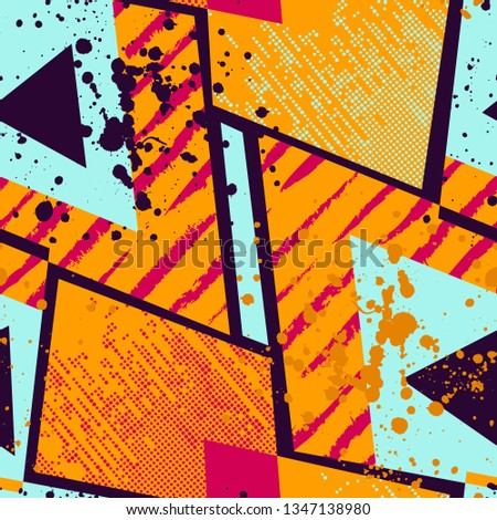 Grunge geometric pattern for girls, boys, fashion textile, sport clothes. Urban modern design with curved shape, spray paint elements. Chaotic guys repeated backdrop  #1347138980