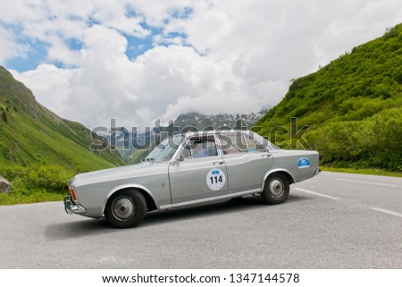 silvretta, austria, 04 july 2013, silvretta classic, competition for vintage cars #1347144578