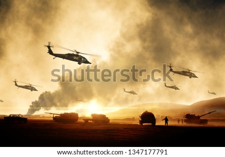 Military helicopters, forces and tanks in plane in war at sunset #1347177791