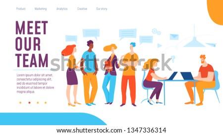 Vector deram team creative business illustration. People communikate, create ideas for success. Great design for human resourse presentation, web, internet, advertisment. Landing page template #1347336314