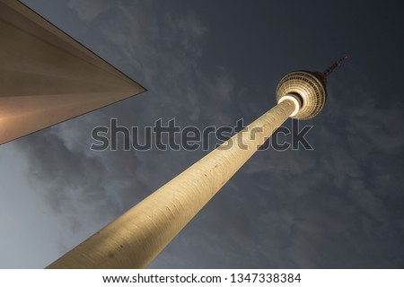 Fernsehturm Berlin or Berlin TV Tower or Alex Tower on Alexanderplatz – television tower in central Berlin Mitte, Germany. Unique view of Berliner Fernsehturm in Berlin-Mitte. #1347338384