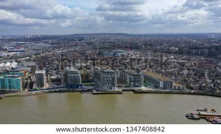 Aerial drone photo of residential part in city of Greenwich in the heart of London, United Kingdom #1347408842