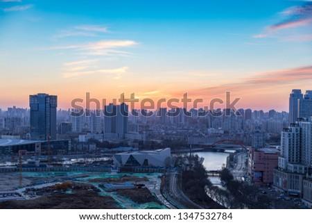 On March 21, 2019, Tianjin Haihe, Tianjin Eye Area, Tianjin, China, was in the dawn. #1347532784