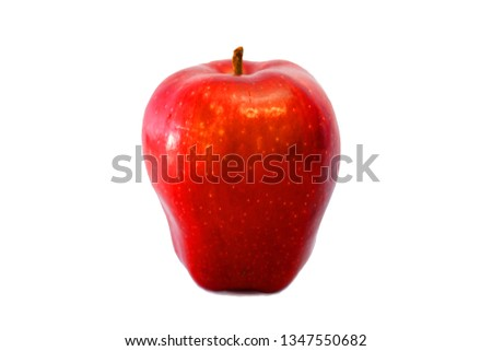 Red and green apple on white background                         #1347550682