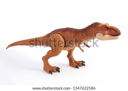 T-Rex toy dinosaur, baby toy, tyrannosaurus, dinosaur isolated on white background