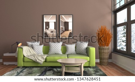 Interior of the living room. 3D illustration #1347628451