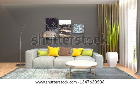 Interior of the living room. 3D illustration #1347630506